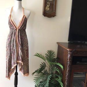🌹 VS Peach Paisley Handkerchief Halter Dress OS
